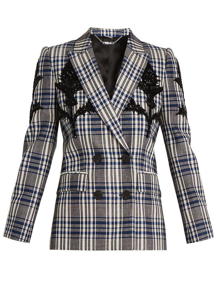 ALEXANDER-MCQUEEN--embellecido-comprobado-chaqueta-de-lana