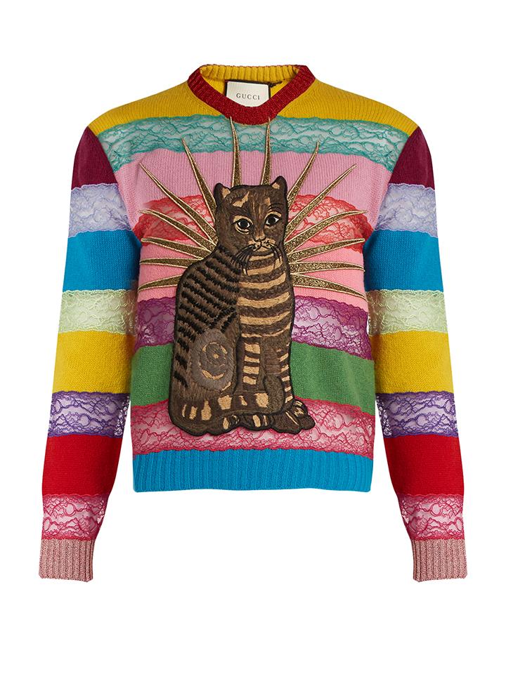 GUCCI--Cat-aplique-con-paneles-suéter-del-cordón-y-lana