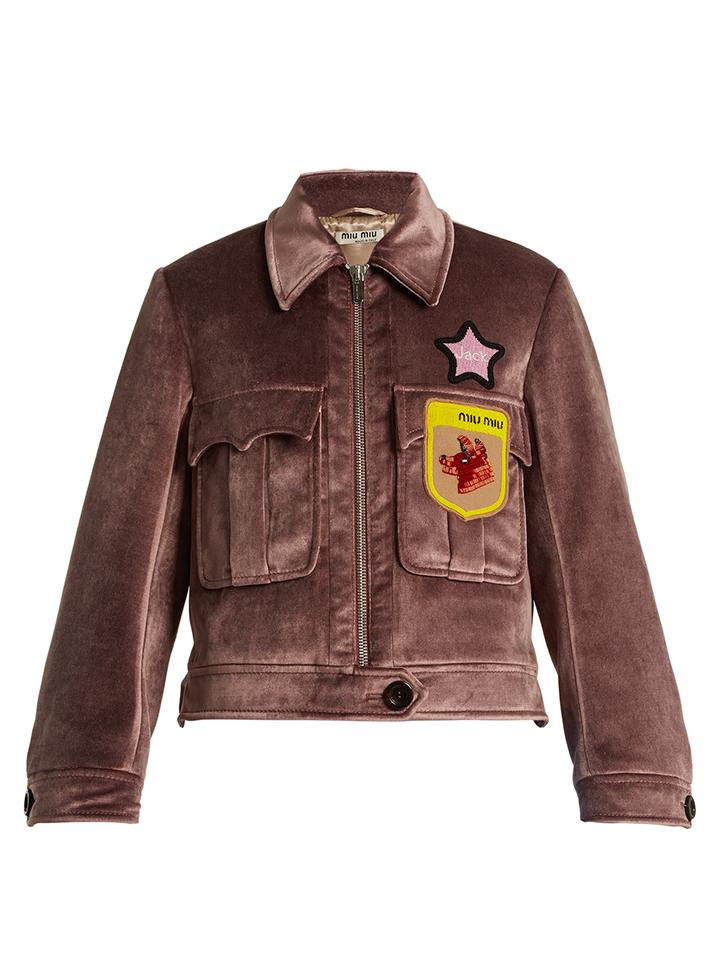 MIU-MIU--embellecido-apliques-chaqueta-de-terciopelo