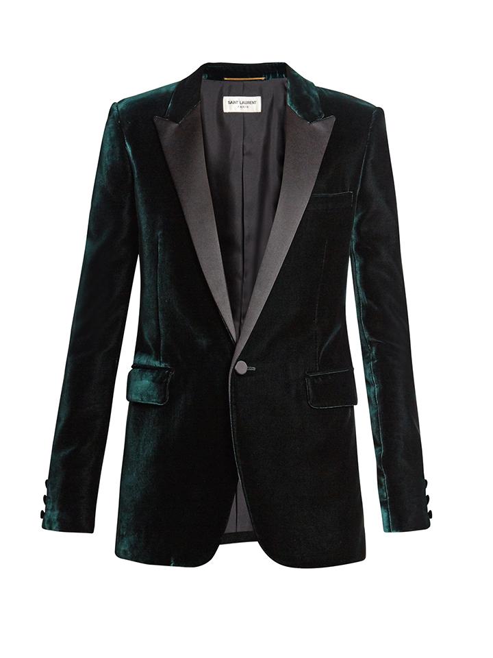 SAINT-LAURENT--chaqueta-de-esmoquin-de-terciopelo-satinado-solapa