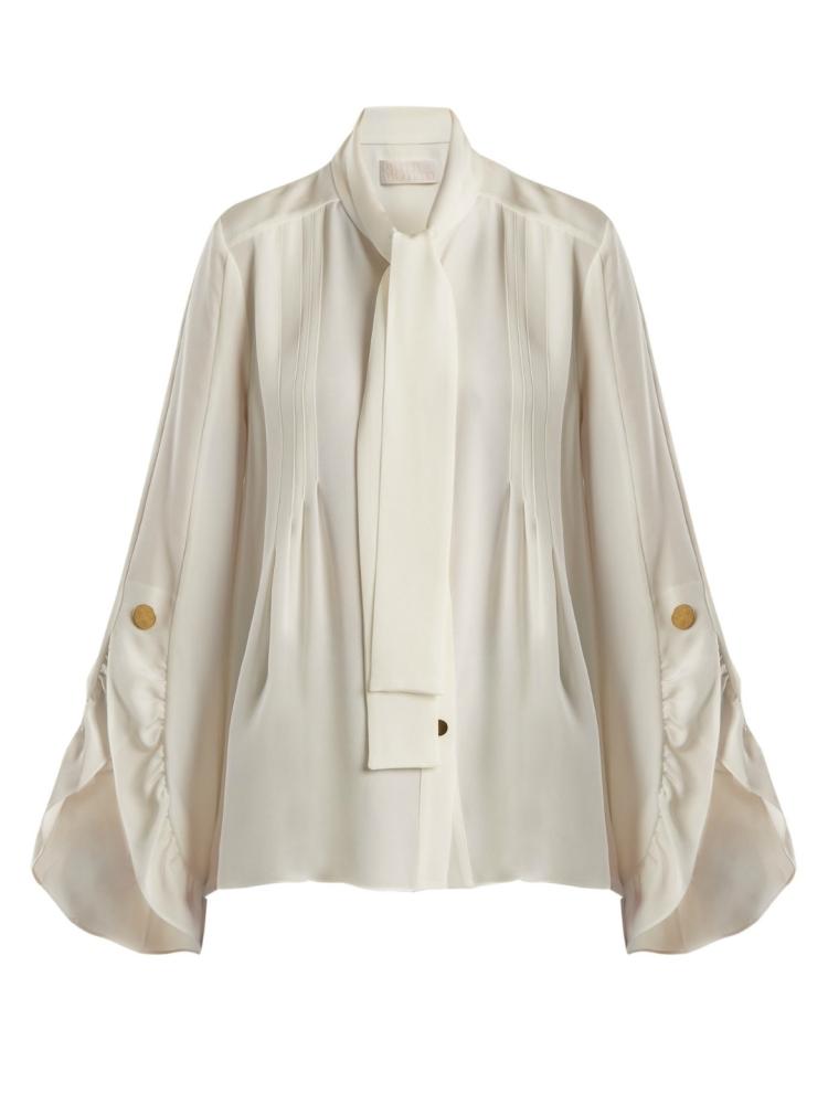 Blusa de crepe de Chine en seda con adornos de volantes PETER PILOTTO