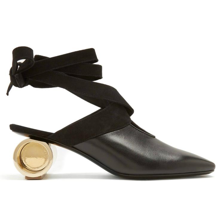 JW ANDERSON Cylinder-heel leather mulas