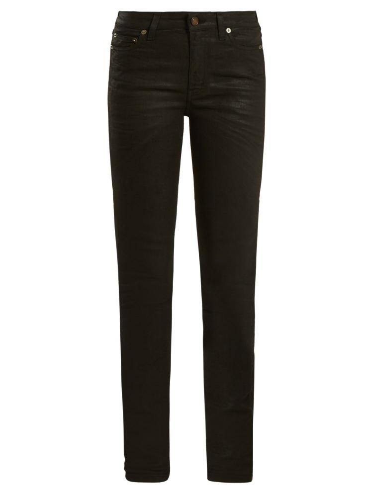 SAINT LAURENT jeans de talle medio con revestimiento pitillo
