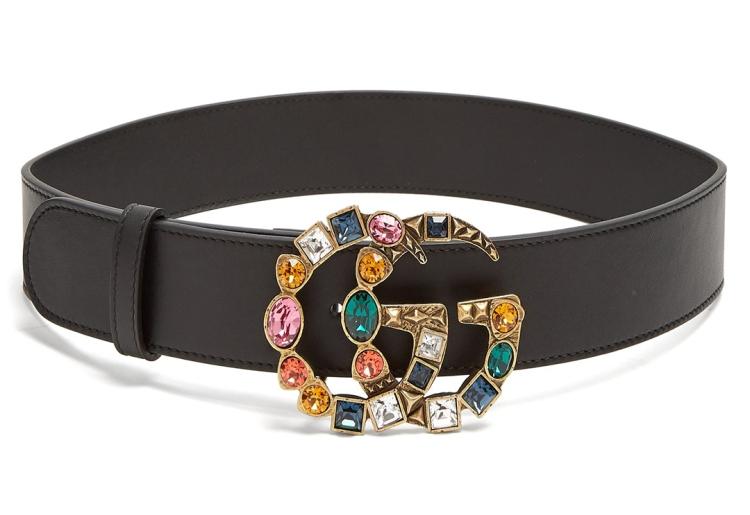 GUCCI--Crystal-embellished-GG-logo-4cm-correa-de-cuero