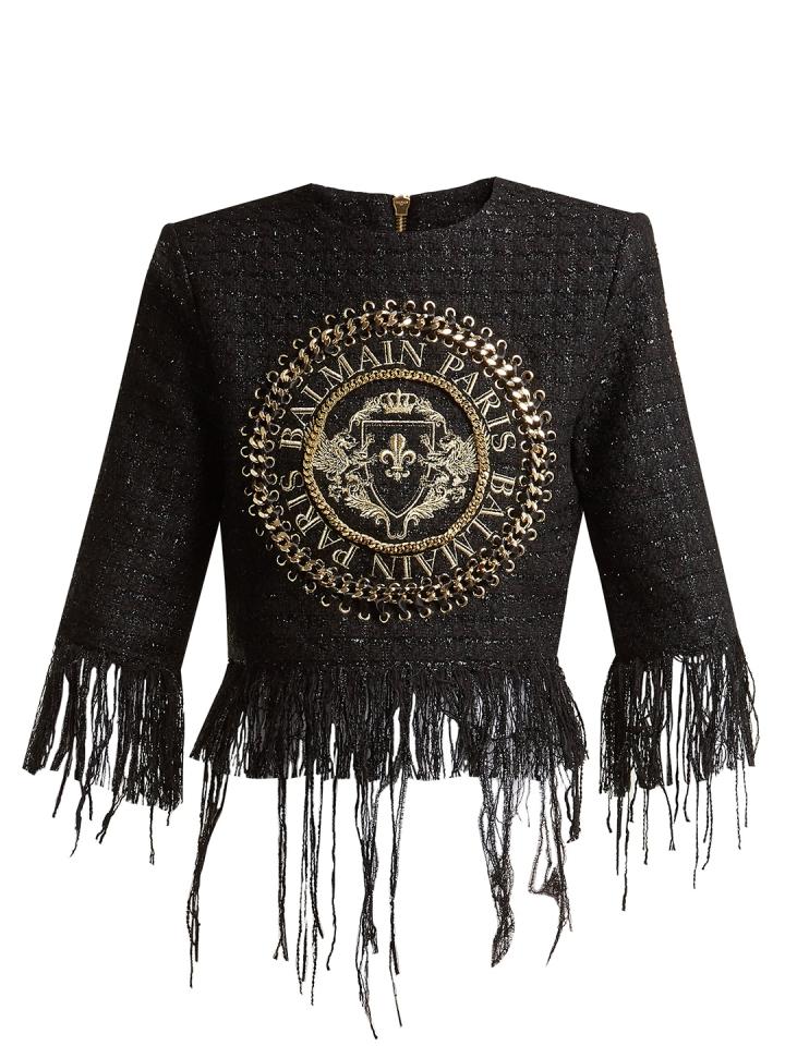 Top-de-tweed-bordado-con-logo-de-BALMAIN